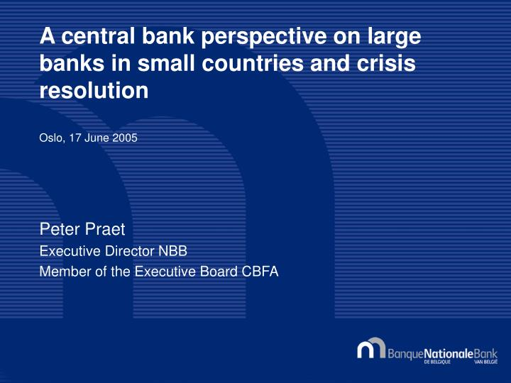 A central bank perspective on large banks in small countries and crisis resolution
