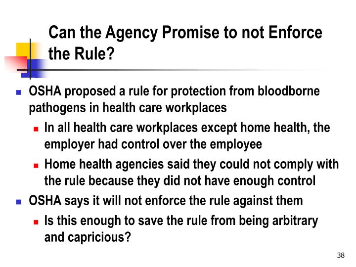 Can the Agency Promise to not Enforce the Rule?