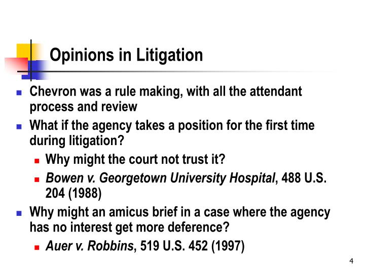 Opinions in Litigation