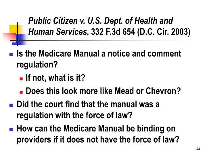 Public Citizen v. U.S. Dept. of Health and Human Services