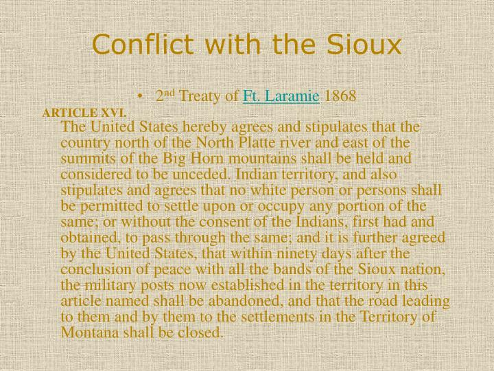 Conflict with the Sioux