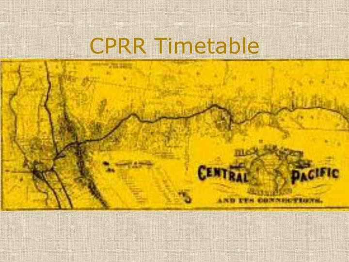CPRR Timetable