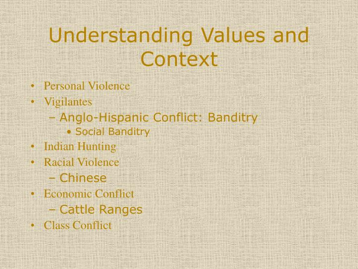 Understanding Values and Context