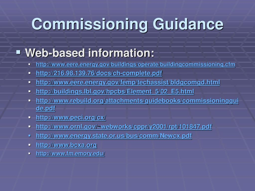 Commissioning Guidance
