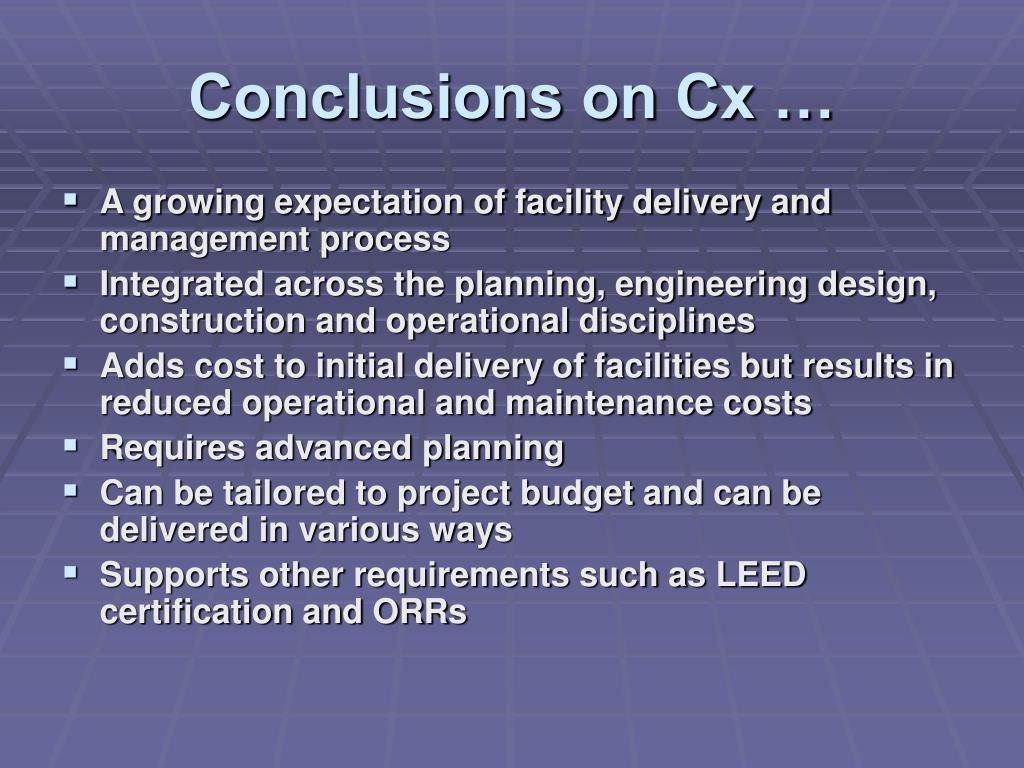Conclusions on Cx …