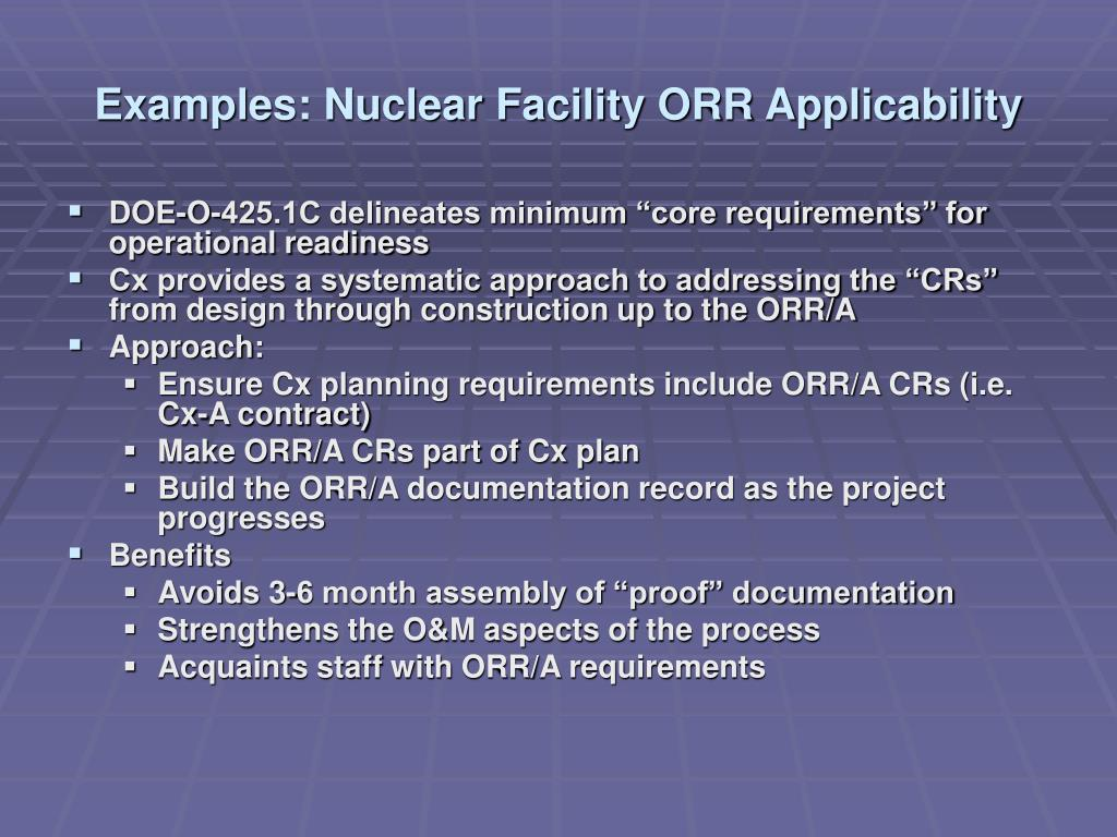 Examples: Nuclear Facility ORR Applicability