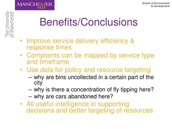 Benefits/Conclusions