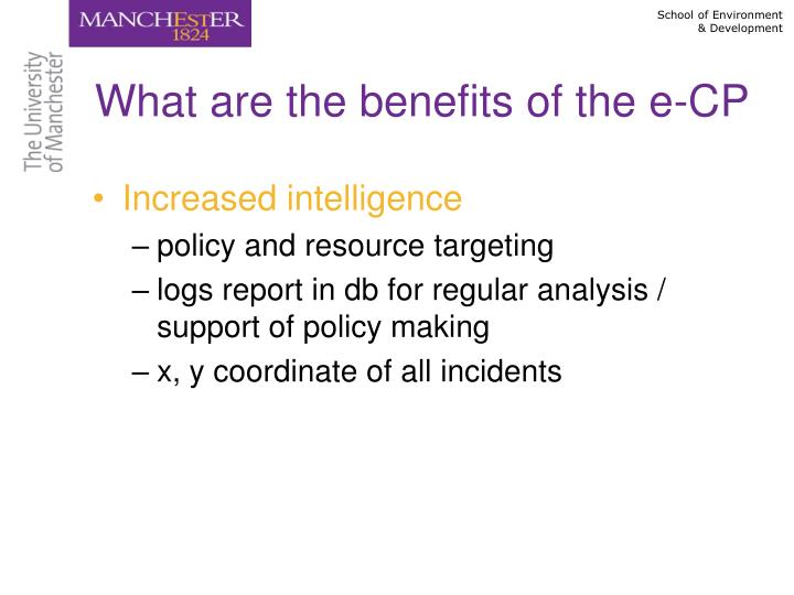 What are the benefits of the e-CP