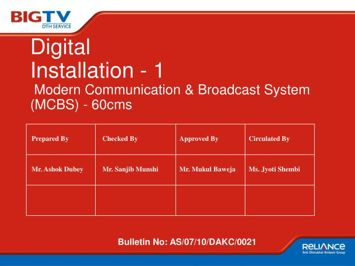 Digital installation 1 modern communication broadcast system mcbs 60cms