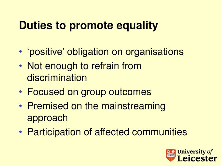 Duties to promote equality