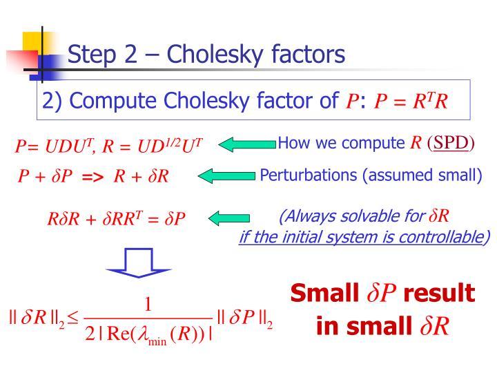 Step 2 – Cholesky factors