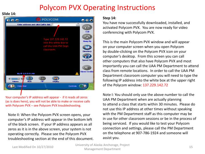 Polycom PVX Operating Instructions