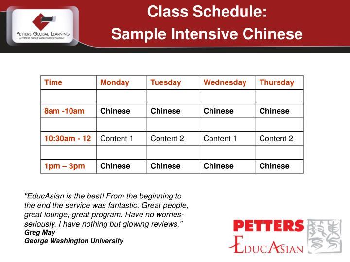 Class Schedule: