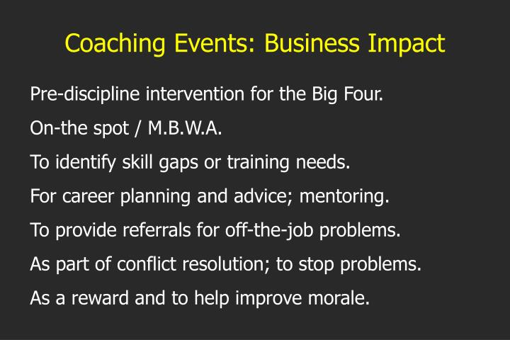 Coaching Events: Business Impact