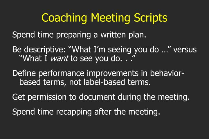 Coaching Meeting Scripts