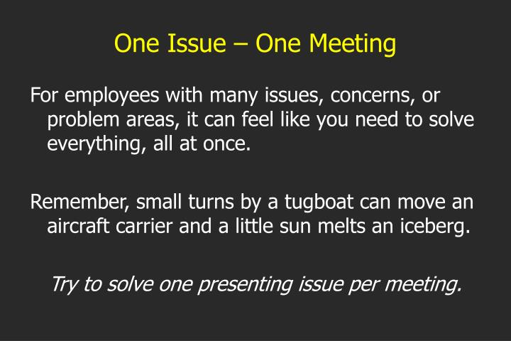 One Issue – One Meeting