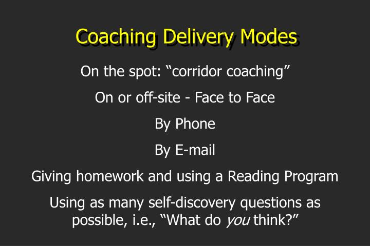 Coaching Delivery Modes