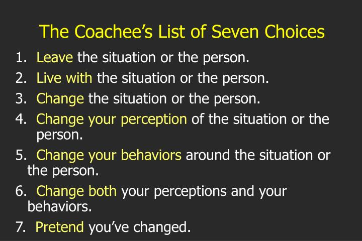 The Coachee's List of Seven Choices