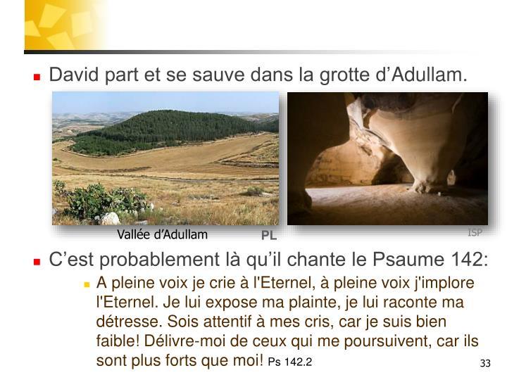 David part et se sauve dans la grotte d'