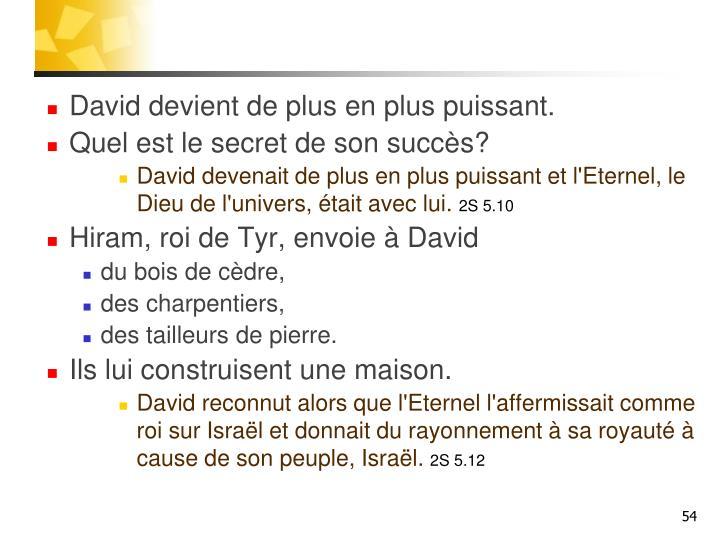 David devient de plus en plus puissant.