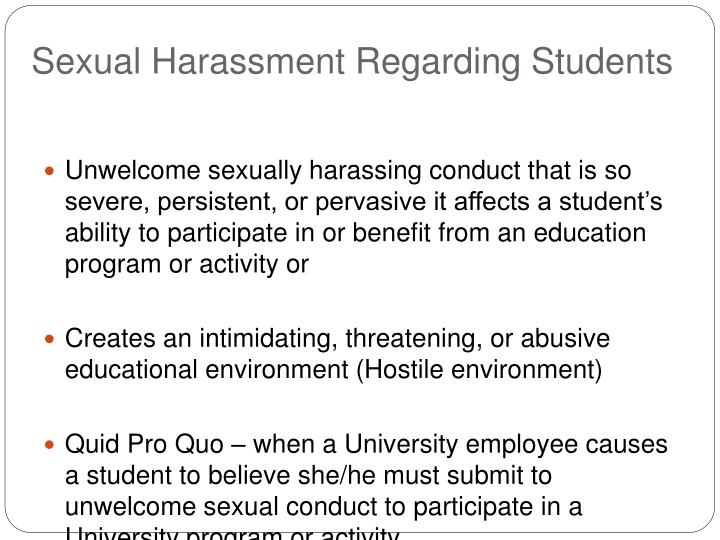 What causes sexual harassment