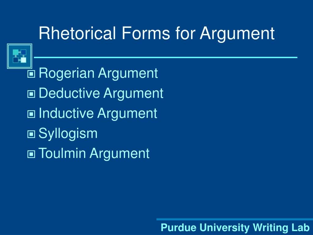Rhetorical Forms for Argument