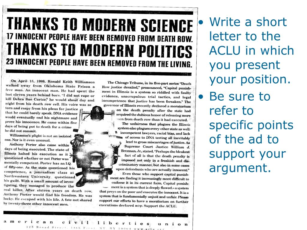 Write a short letter to the ACLU in which you present your position.