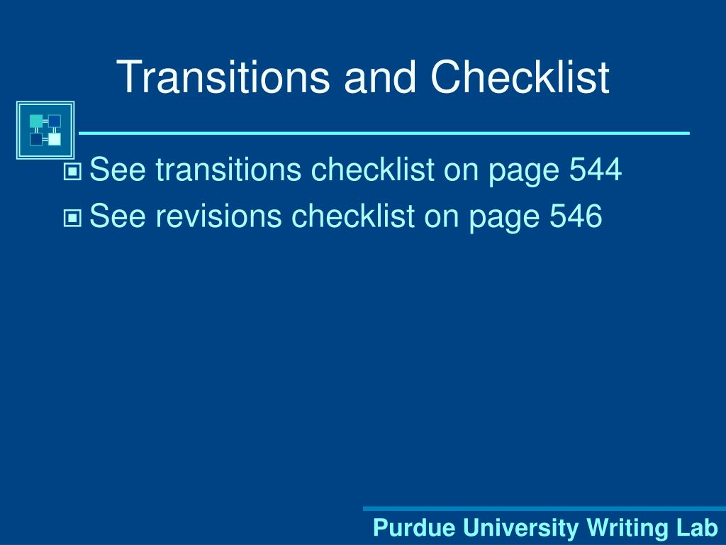 Transitions and Checklist