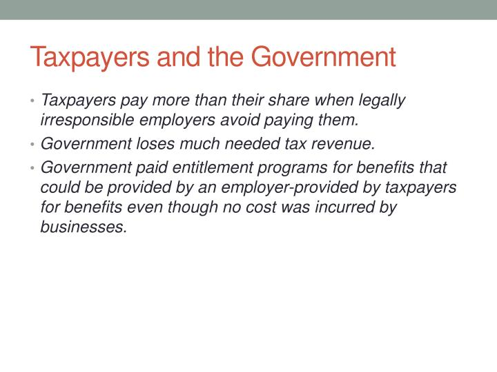 Taxpayers and the Government