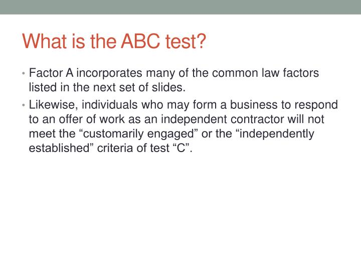 What is the ABC test?
