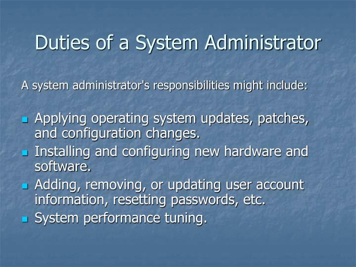 Duties of a System Administrator
