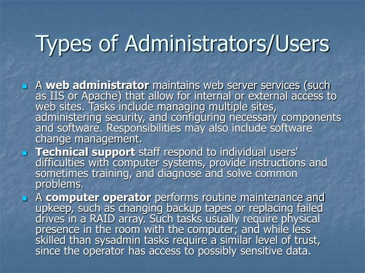 Types of Administrators/Users