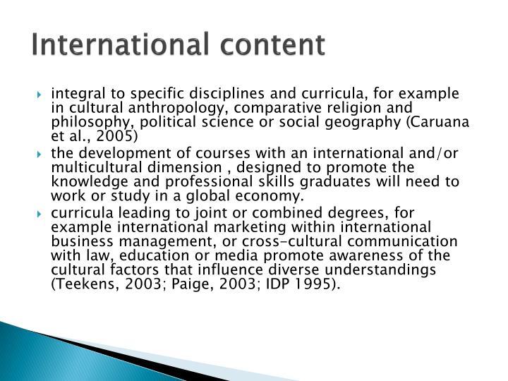 International content
