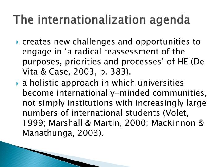 The internationalization agenda