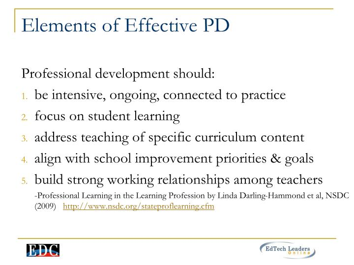 Elements of Effective PD