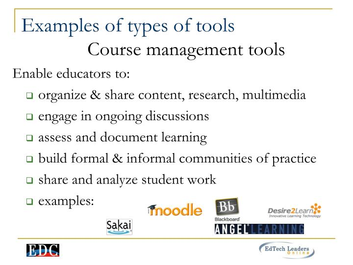 Examples of types of tools
