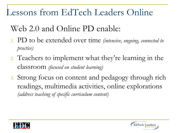 Lessons from EdTech Leaders Online