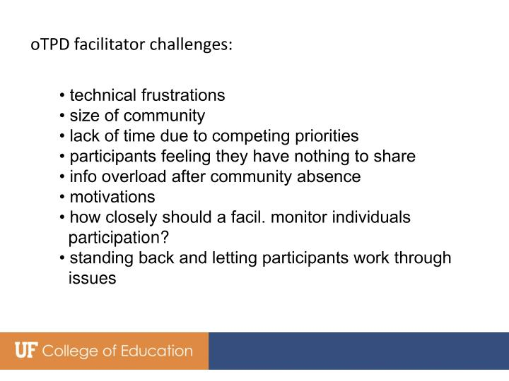 oTPD facilitator challenges: