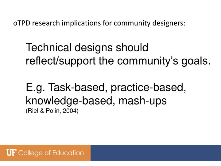 oTPD research implications for community designers: