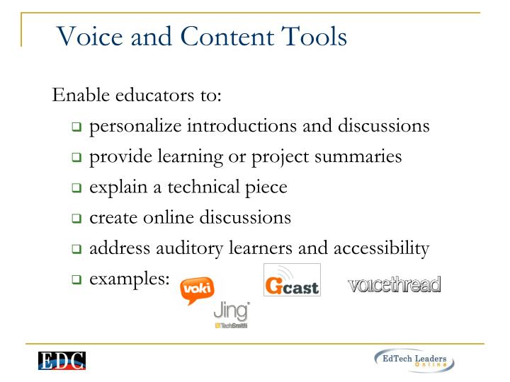 Voice and Content Tools