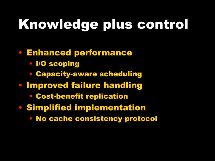 Knowledge plus control