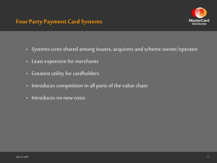 Four Party Payment Card Systems
