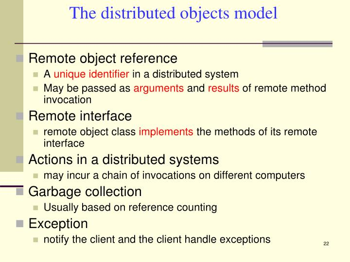 The distributed objects model