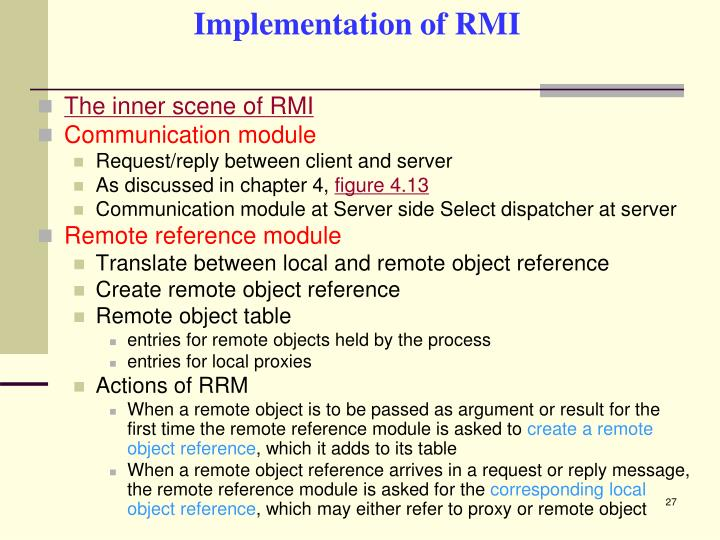 Implementation of RMI