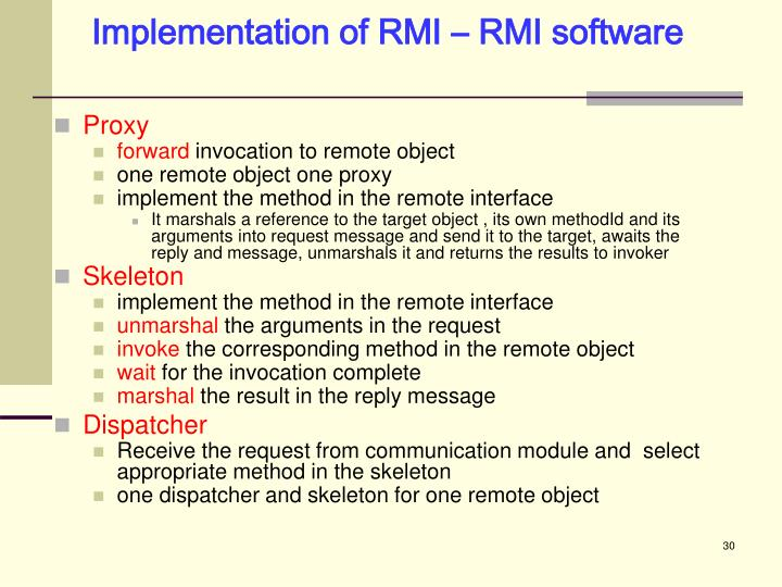 Implementation of RMI – RMI software