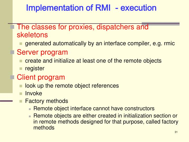 Implementation of RMI  - execution