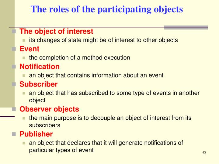 The roles of the participating objects