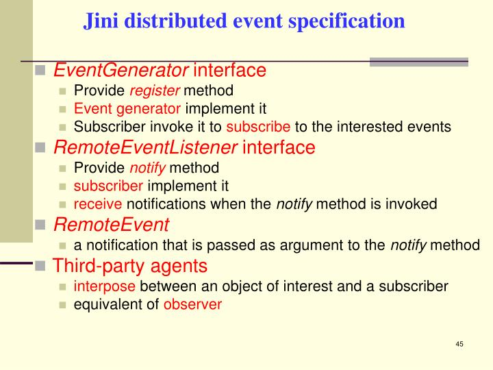 Jini distributed event specification