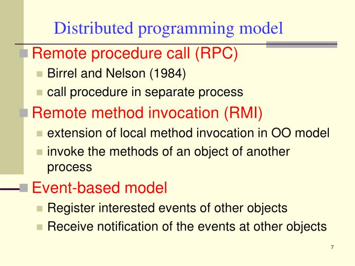 Distributed programming model