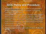 idoc policy and procedure